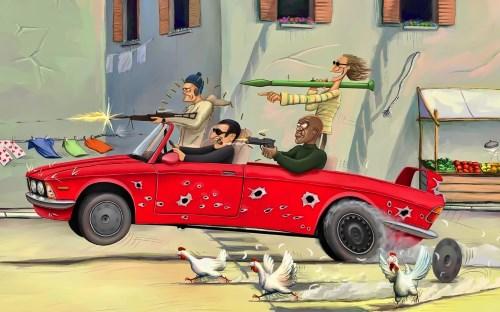 бандиты на БМВ рисунок