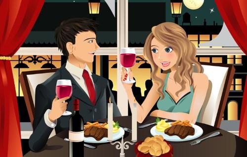 пара в ресторане рисунок
