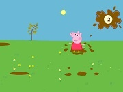 Little Pig. Jumping in puddles