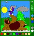 Раскраска Маша и Медведь в лесу