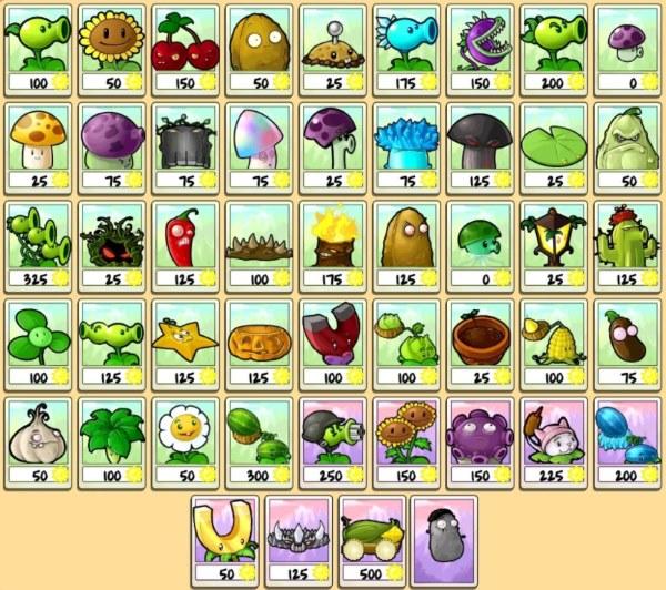 все растения игры plants vs zombie