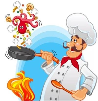 повар подкидывает осьминога на сковороде