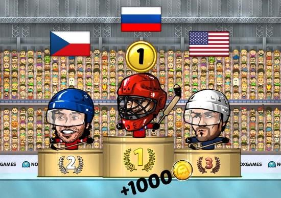 хоккей головами пьедестал