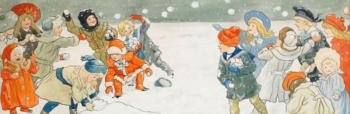 дети играют в снежки рисунок