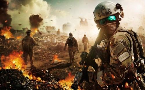 солдаты в бою